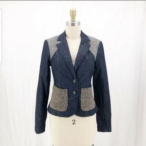 ELIZABETH & JAMES Denim Patchwork Tweed Jacket 4